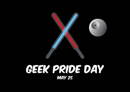 Geek Pride Day vector. Crossed light sabers icon vector. Laser sword vector. Attributes of Star Wars vector. Geek Pride Day Poster, May 25. Important day