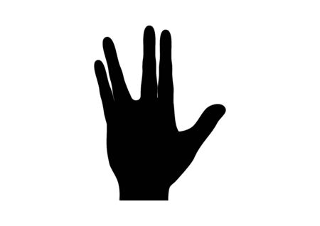 Spock hand icon black silhouette vector. Spock hand vector. Gesture Spock sign vulcan greet icon. Vulcan salute icon isolated on a white background