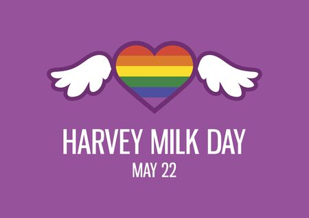 Harvey Milk Day vector. Gay and lesbian rights vector. Rainbow heart shape LGBT icon. Colorful heart with wings icon. Harvey Milk Day Poster, May 22. Important day