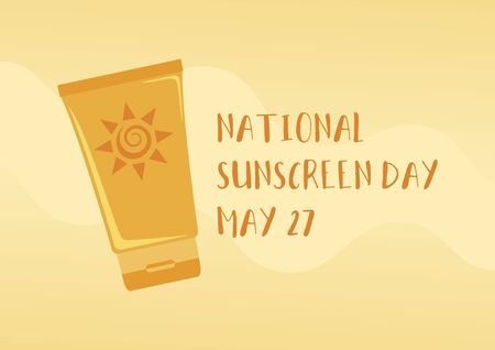 National Sunscreen Day vector. Sunscreen icon vector. Orange tube of sunscreen icon. Sunscreen Day Poster, May 27. Important day