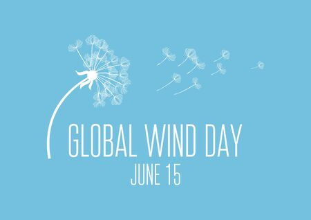 Global Wind Day vector. Dandelion in the wind vector. Dandelion silhouette vector. White dandelion on a blue background. Wind Day Poster, June 15. Important day 向量圖像