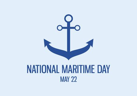 National Maritime Day vector. Anchor icon vector. Blue nautical anchor silhouette. Maritime Day Poster, May 22. Important day