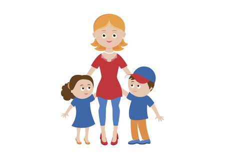 Happy mom and two children vector. Happy mother with two children vector. Mom and kids icon isolated on a white background. Beautiful mom and cute children cartoon character