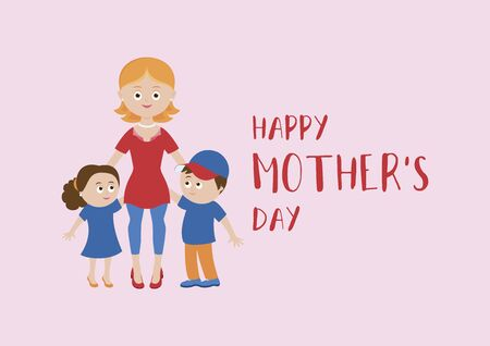 Happy Mother's Day lettering with mom and children vector. Happy mother with two children vector. Mom and kids icon isolated on a pink background. Beautiful mom and cute children cartoon character Vettoriali