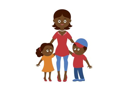African american mom and two children vector. Happy mother with two children vector. Mom and kids icon isolated on a white background. Beautiful mom and cute children cartoon character Vettoriali