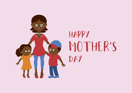 Happy Mother's Day lettering with african american mom and children vector. Happy african american mother with two children vector. Mom and kids icon. Beautiful mom and cute children cartoon character Vettoriali