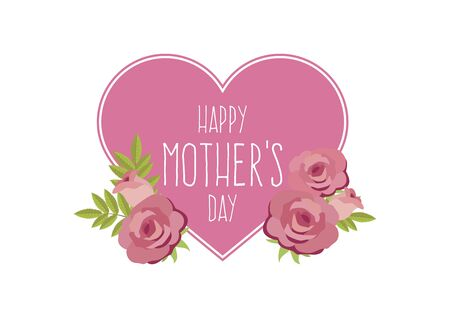Happy Mother's Day heart shape with roses vector. Beautiful pink roses for mother's vector. Happy mothers day floral background. Mother's Day greeting card. Important day