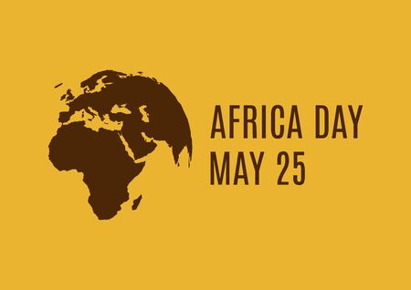 Africa Day with World Planet Earth silhouette vector. Brown silhouette Planet Earth vector. World planet earth icon vector. Earth Globe Africa View. Africa Day Poster, May 25. Important day