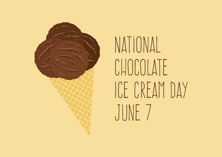 National Chocolate Ice Cream Day vector. Ice cream cone icon vector. Scoop ice cream vector. Chocolate Ice Cream Day Poster, June 7. Important day 版權商用圖片 - 147919618