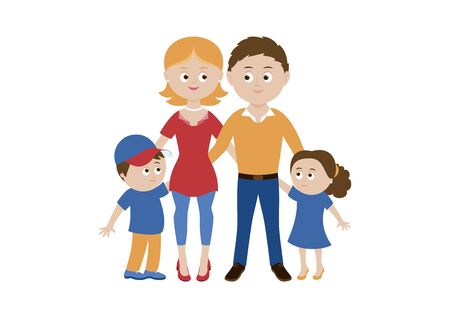 Daddy, mum and kids icon vector. Beautiful family vector. Happy parents with children cartoon character. Couple in love with children vector. Mom, dad and kids icon isolated on a white background Çizim