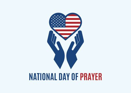 National Day of Prayer vector. American flag heart shape vector. Hands with heart icon. Prayer for America icon. Day of Prayer Poster, first Thursday of May. Important day