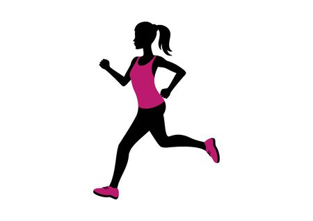 Running woman silhouette icon vector. Running woman in pink clothes icon. Attractive fitness girl silhouette. Woman in pink running shoes vector. Jogging slim woman icon isolated on a white background
