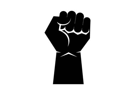 Black raised hand with clenched fist icon vector. African american fist icon isolated on a white background. Black clenched fist icon. Fist raised in protest vector. Raised hand silhouette vector