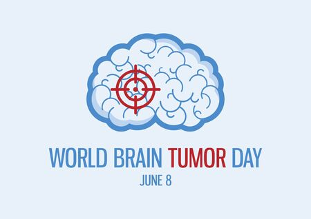 World Brain Tumor Day vector. Human brain icon vector. Sick brain with a target abstract icon. Brain Tumor Day Poster, June 8. Important day Vecteurs