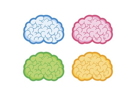 Human brain multicolored icons set vector. Brain abstract icon set isolated on a white background. Stylized brain clip art. Blue, pink, green and orange brain collection. Colorful states of mind vector