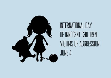International Day of Innocent Children Victims of Aggression vector. Abused children vector illustration. Tied up girl vector. Little girl with teddy bear silhouette vector. Abused little girl icon