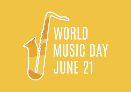 World Music Day vector. Music Day lettering with saxophone vector. Saxophone silhouette vector. Music Day Poster, June 21. Important day