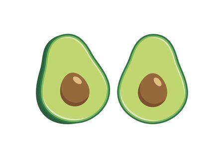 Halved green avocado icon set vector. Avocado icon isolated on a white background. Half avocado vector
