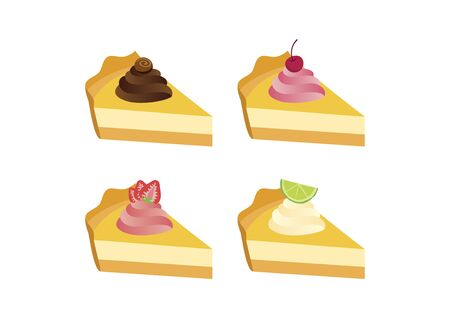 Different types of cakes icon set vector. Piece of cake with chocolate, strawberry, cherry and lime icon set. Fruit cream pie icon isolated on a white background. Delicious fruit cake vector. Piece of cheesecake vector