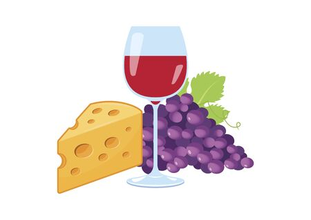 Glass of red wine and grapes and cheese icon vector. Still life with red wine, grapes and cheese icon vector. Red wine and cheese icon isolated on a white background. Food and drink icon