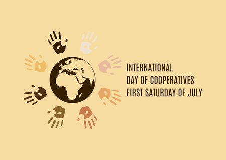 International Day of Cooperatives vector. Colorful handprints around the planet earth vector. Different colored handprints vector. Color hand print icon. Important day Illustration