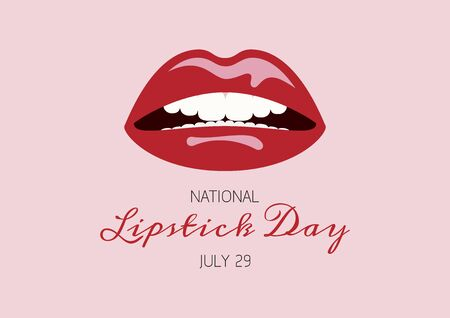 National Lipstick Day vector. Sexy mouth with red lipstick vector. Beauty red lips vector. Glossy lipstick icon isolated on a pink background. Lipstick Day Poster, July 29