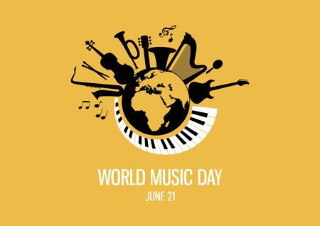 World Music Day with musical instruments vector. Different musical instruments silhouette vector. Planet Earth with musical instruments vector. Music Day Poster, June 21. Important day