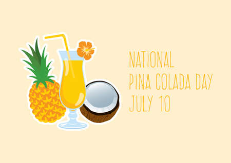 National Pina Colada Day vector. Tropical Pina Colada cocktail icon vector. Drink with pineapple and coconut vector. Fruits fresh cocktail icon. Summer drink vector. Pina Colada Day Poster, July 10