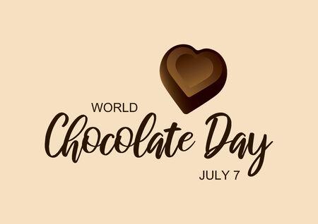 World Chocolate Day with inscription chocolate heart vector. Chocolate praline heart shape icon vector. Chocolate Day Poster, July 7. Important day