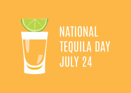 National Tequila Day vector. Tequila shot with lime vector. Golden tequila shot icon. Mexican alcoholic drink icon. Tequila Day Poster, July 24
