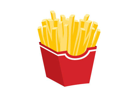 French fries in a red box icon vector. French fries icon isolated on a white background. French fried potatoes vector. Favorite fast food meal icon