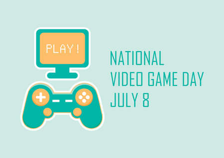 National Video Game Day vector. Gaming console colored icon vector. Joystick game console vector. Joystick control with monitor vector. Video Game Day Poster, July 8. Important day Çizim