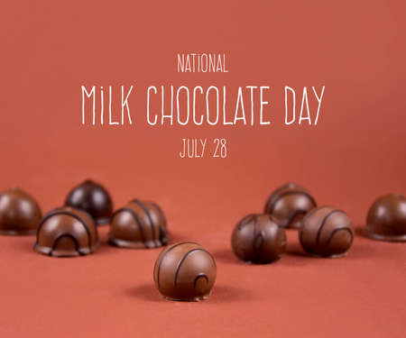 National Milk Chocolate Day stock images. Chocolate pralines on a brown background stock images. Round chocolate candies images. Milk Chocolate Day Poster, July 28. Important day