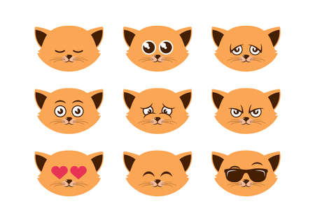 Cute domestic cat facial expressions icon set vector. Cute cats faces icon set. Different cat face emoji collection. Cute cat expressions vector. Smiley cat faces icon isolated on a white background