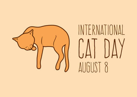 International Cat Day vector. Sleeping brown domestic cat icon vector. Cute cat lying down vector. Cat Day Poster, August 8. Important day