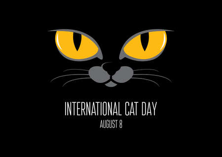 International Cat Day vector. Yellow cat eyes on a black background vector. Face of a black domestic cat icon. Yellow eyes of the beast vector. Cat Day Poster, August 8. Important day Illustration