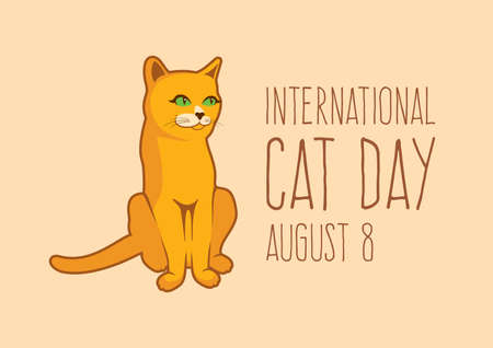 International Cat Day vector. Sitting brown cat icon vector. Cute domestic red cat vector. Cat Day Poster, August 8. Important day