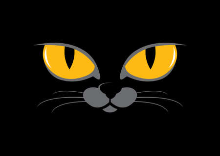 Yellow cat eyes on a black background vector. Face of a black domestic cat icon. Yellow eyes of the beast vector. Black cat vector