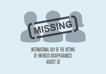 International Day of the Victims of Enforced Disappearances vector. Disappeared people vector. Missing person icon. Lost people gray silhouettes vector. Enforced Disappearances Poster, August 30