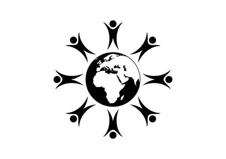 People figures standing around the Planet Earth vector. Group of people abstract icon. People standing around globe black silhouette icon isolated on a white background. People around the world vector Vettoriali