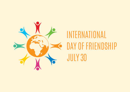 International Day of Friendship vector. Group of people abstract icon. Multicolored people icon. Colorful people figures standing around the Planet Earth vector. Day of Friendship Poster, July 30  イラスト・ベクター素材
