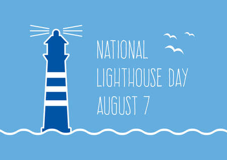 National Lighthouse Day vector. Blue beacon icon vector. Nautical lighthouse on a blue background. Lighthouse Day Poster, August 7. Important day