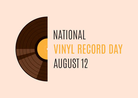 National Vinyl Record Day vector. Half of a gramophone record vector. Vinyl record icon vector. Vinyl Record Day Poster, August 12. Important day