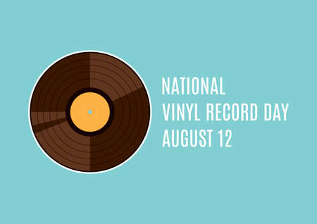 National Vinyl Record Day vector. Retro gramophone record vector. Vinyl record icon vector. Vinyl Record Day Poster, August 12. Important day