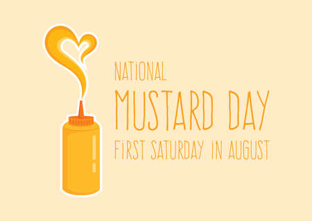 National Mustard Day vector. Yellow plastic mustard bottle vector. Mustard heart shape icon vector. Mustard Day Poster, first Saturday in August