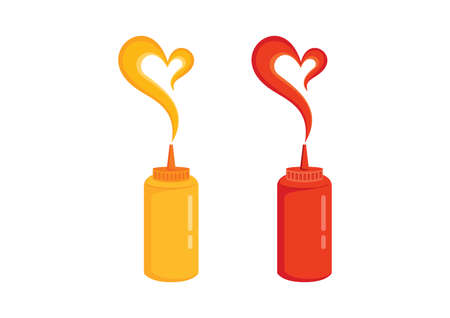 Mustard and ketchup plastic bottle icon set vector. Mustard and ketchup squeeze bottles icon isolated on a white background. Mustard and ketchup heart shape icon vector