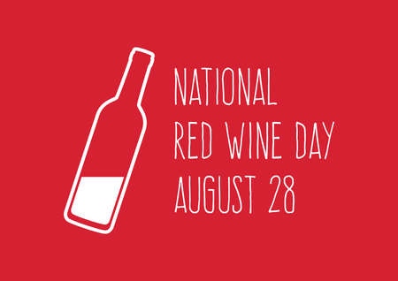 National Red Wine Day vector. White bottle silhouette vector. Bottle of wine on a red background. Red Wine Day Poster, August 28. Important day