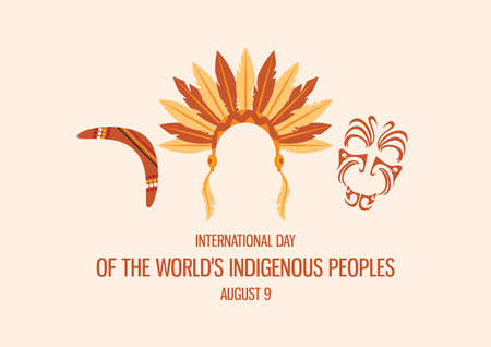 International Day of the World's Indigenous People vector. Indigenous people symbols icon set. Indian headband icon. Maori face ornament vector. Boomerang icon vector. Native people attributes icon  イラスト・ベクター素材