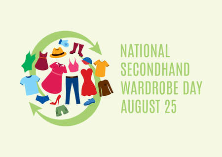 National Secondhand Wardrobe Day vector. Second hand clothes vector. Different types of clothes icon set. Sustainable Fashion icon. Secondhand Wardrobe Day Poster, August 25