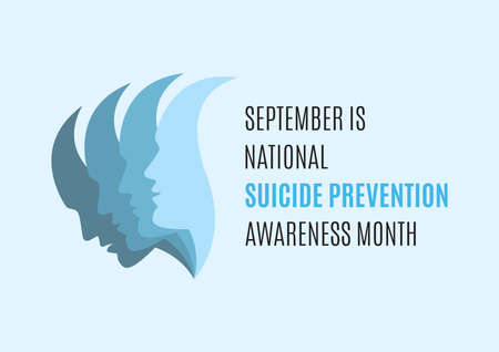 September is National Suicide Awareness Month vector. Man face with depression vector. People with depression icon vector. Sadness abstract vector illustration. Mental health icon  イラスト・ベクター素材